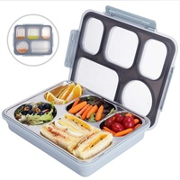 LULA 5 Compartments Custom Insulated Kids Portable Thermos Leak proof Metal Stainless Steel Lunch Box Bento Set with Locks