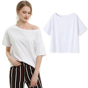 2019 Summer 100% Cotton Fashion Solid Color Plain White T Shirt Women