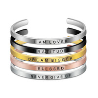 2020 New Arrivals Fashion Jewelry,Jewellery Stainless Steel Custom Inspirational Bracelets Bangles Wholesales