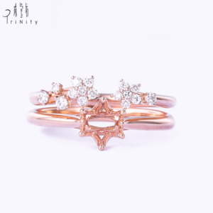 I01 Supplier new product 2019 fashion gold jewelry women semi mount setting 2 pieces set diamond rose gold engagement ring