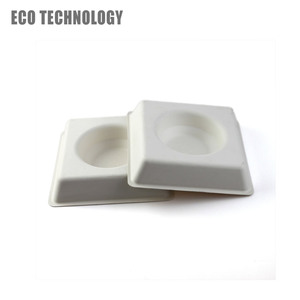 Wet pressing sugarcane bagasse molded white packaging pulp food chocolate tray