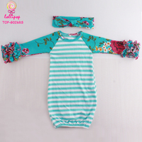 Wholesale Boutique Ruffle Raglan Infant Baby Night Gown Aqua Stripes & Floral Long Sleeve Blank Icing Ruffle Raglan Gown Baby