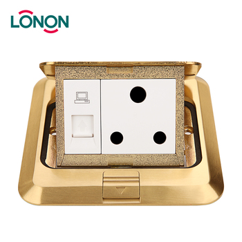 Stainless steel double socket floor box mounted duplex receptacle