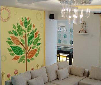 Foto Personalizzata Murales Carta Da Parati Alberi Colorati E Fiori ...