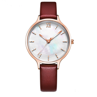 Fashion Shell Dial Quartz Ladies Luxury Genuine Leather Watch Women