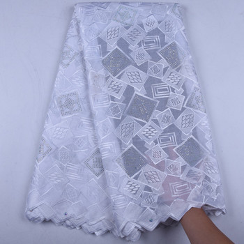 White Embroidered Swiss Voile Lace Fabric With Stones For Party Or Wedding High Quality Dry Cotton Lace Fabric With Beads 1568