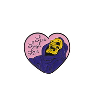 Qianyuan Halloween Gift Gothic Dark Heart Shape Skeleton Death Godfather Enamel Badge Brooches Lapel Pins