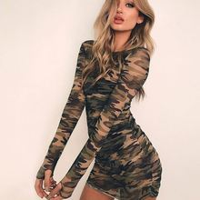 Hot <span class=keywords><strong>koop</strong></span> <span class=keywords><strong>Europese</strong></span> en Amerikaanse dames see through camouflage kleur jurk