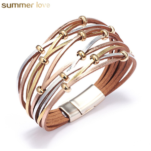 Fashion Personalized Gold Silver Beads Resin Charm Multiple Layers Wrap Leather Bracelet Wholesale Jewelry for Men Women