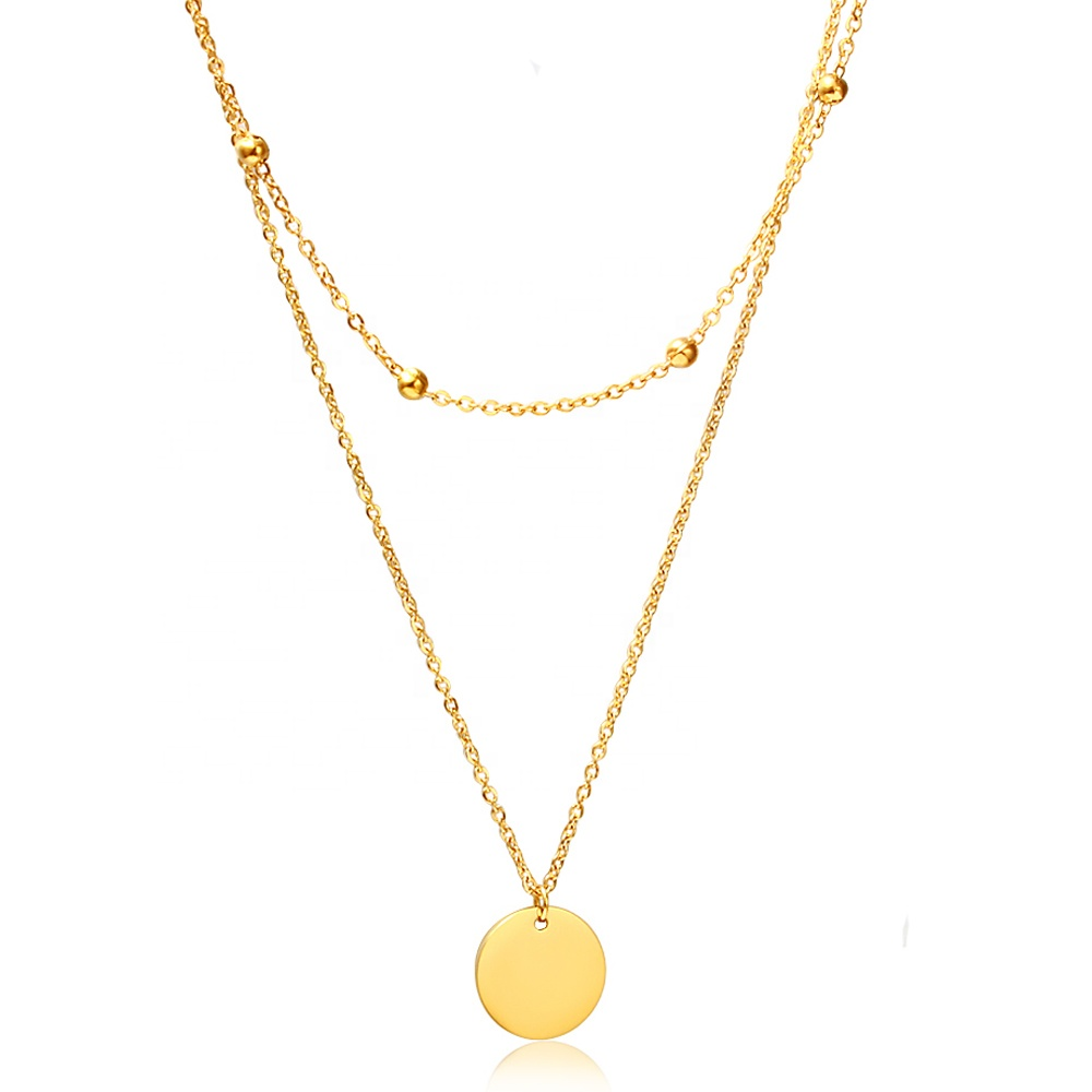 2019 new Stainless steel gold filled Minimalist necklace jewelry women double Choker Collar necklace фото