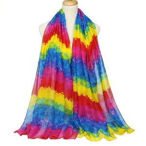 Cenrui Stock Style New Fashion Voile Rainbow Printed Make Your Own Print Scarf Shawl Wholesale