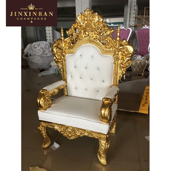 Delicate design gold silver hotel lobby tufted chair antique style Gold king throne chair cheap hotel furniture