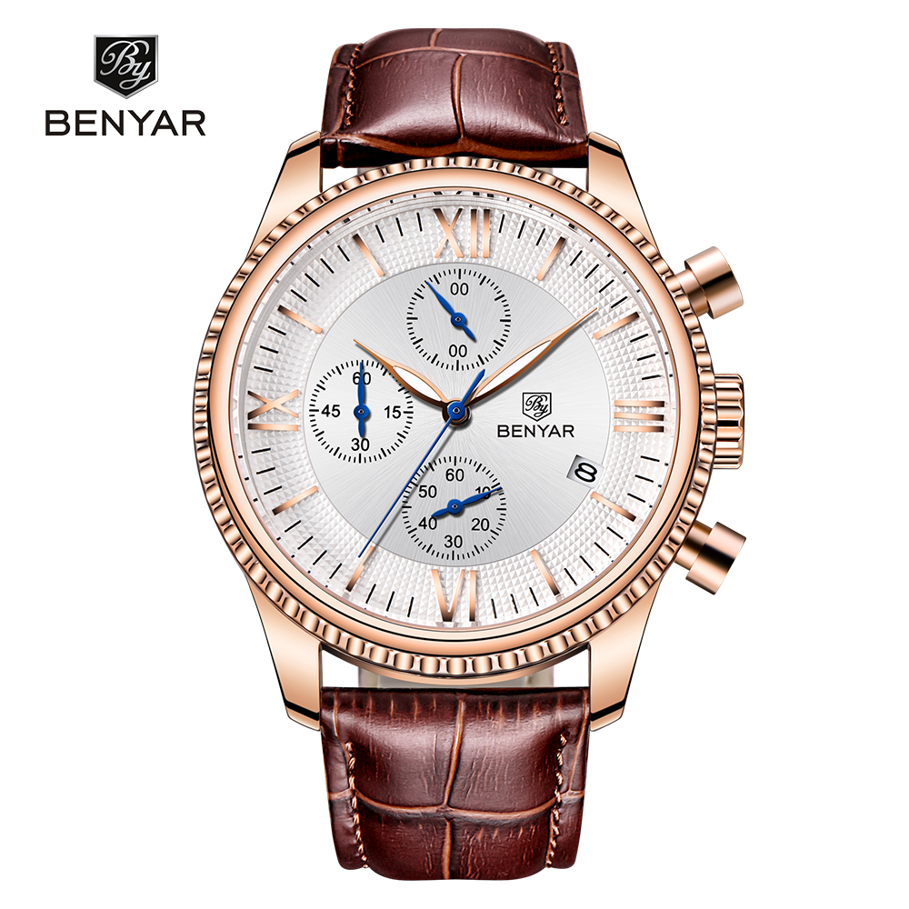 Fashion Mens Chronograph Quartz leather strap benyar Watches фото