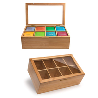 Natural bamboo 8 compartments wooden tea storage organizer box