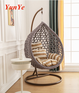 Outdoor and indoor garden patio hanging egg shape cotton rope hand make swing chair with stand