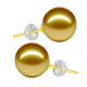 9-10MM AAA Grade Genuine Golden Natural South Sea Pearl 18K Gold Stud Earring