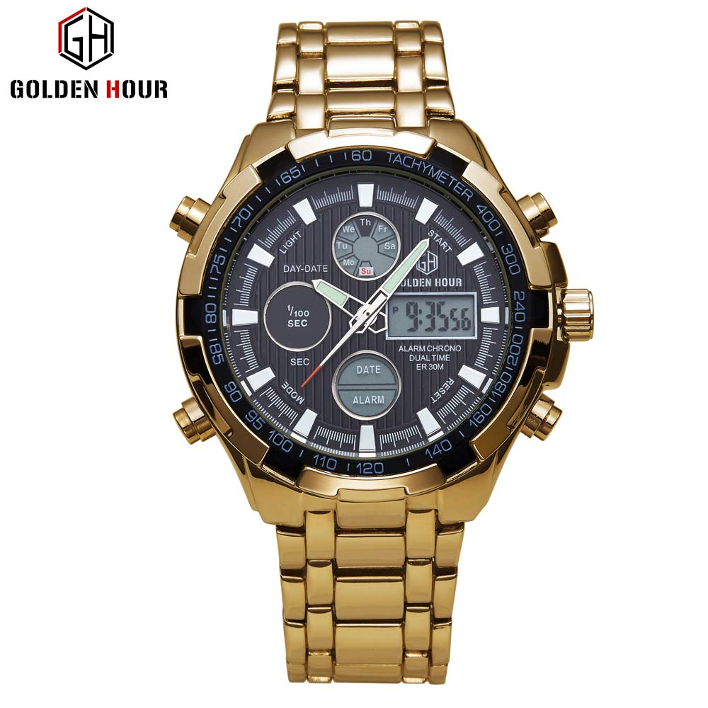 Super Cool Guangzhou Watch Factory Quartz Japan Movement Alarm 3 Atm Gold Wrist Watch For African GOLDENHOUR GH108 фото