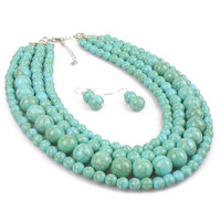 Vintage Long Turquoise Bead Necklace multilayer beads