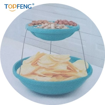 twistfold party bowl 2 tiers with hidden magnets hold plates bowl securely for space saving storage
