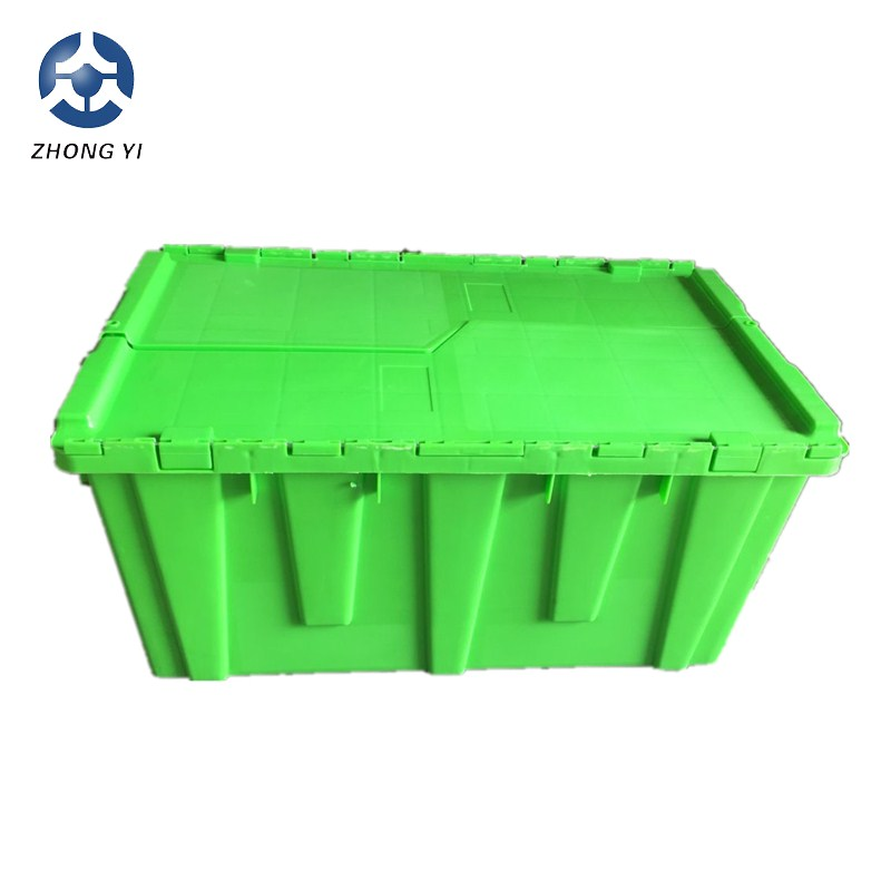 73L Stacking Moving Plastic Crate attch lid match with dolly