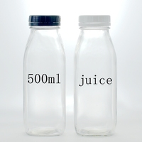 500ml square glass beverage bottle for juice/sauce/milk with twist off cap