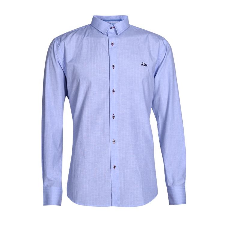 Dress shirt custom logo plain mannen slim toevallige lange mouw