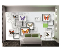 Butterfly 3D background wall wallpapers Fashion 3D frame Butterfly 3D stereo HD photo wall Murals for living room