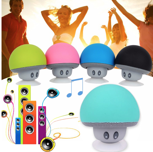2017 hot jual Wireless jamur wireless speaker Waterproof Silicon Suction Pemegang Handfree Music Player