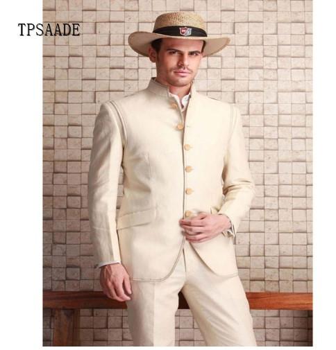 Custom Design Chinese Collar Slim Fit Single Breasted Men Suit WF734 фото