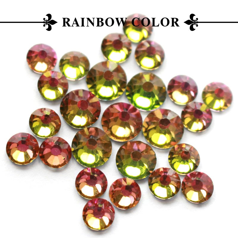 T0810 DOUBLE GLUE!! cheap price Rainbow Color SS 10 China Hot Fix Rhinestone For Clothings dressings, glue rhinestone for PU PV