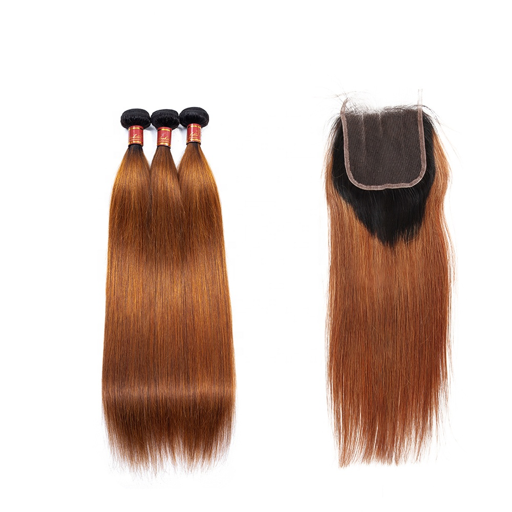 Malaysian Silk Straight Wave 100% Grade 9A Virgin Human Hair T1b/30 Color Bundles With Lace Front Closure