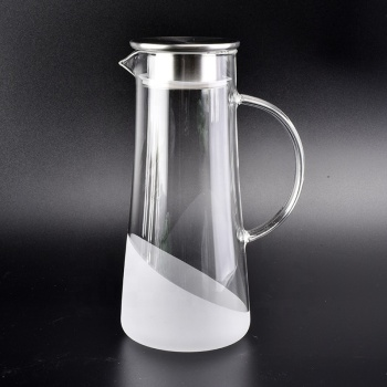 1500ml borosilicate glass water jug with frosting