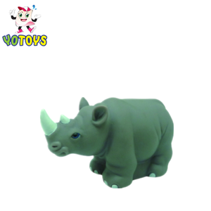 Customized New products big animal rhinoceros shapes shower time rubber toys for baby