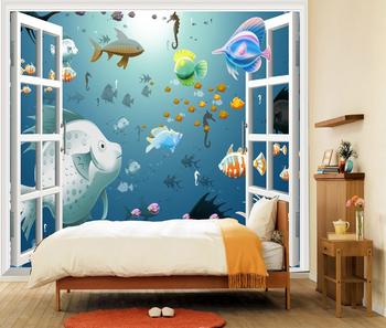 3d Dinding Murals Di Bawah Air Ikan Wallpaper Mural Dekor Anak-anak Room -  Buy Ikan Bawah Laut Wallpaper 3d Mural Dinding Wallpaper Mural Dekorasi