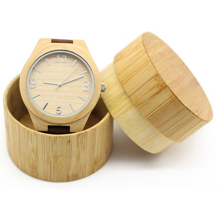China Wholesale Fashion Handcrafted Wood Original Watches With Band Custom Logo Digital Design Your Own Bamboo Wood Watch, Natural wood