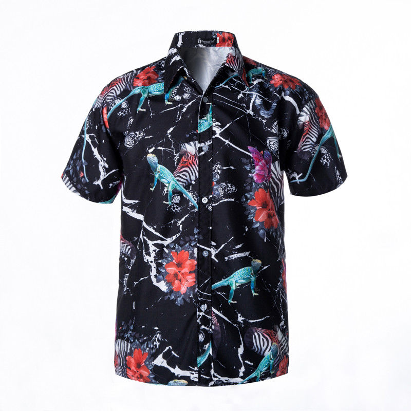 Short Sleeve Flannel Printed Bangkok Hawaiian Shirts Wholesale