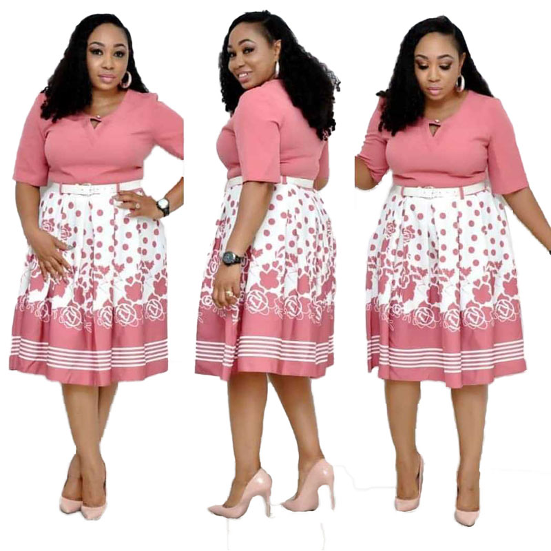 90428-MX23 Casual Fit And Flare Printed Plus Size Dresses For Women фото