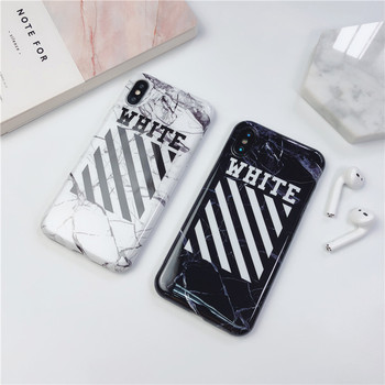 Off ow street trend brand marble case phone case for iphone 6 6s 7 8 Plus X Xs Max Xr strip soft imd jordan air white cover