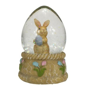 Glass dome Pasqua Ostern globo di neve water ball easter resin rabbit snow globe