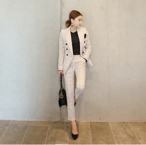 New Women's Double-Breasted Jacket + Slim Fashion Pants Two Piece Suits Woman Blazer And Pants Sets Ladies