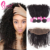 Best Virgin Hair Company Remy Indian Human Kinky Curly Hair Weaves Extensions With Frontal Closure