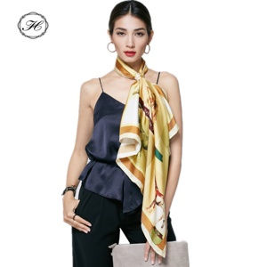 No MOQ Free Sample Hand Rolled Hem 100 Pure Square Custom Digital Printed Own Design Silk Scarf