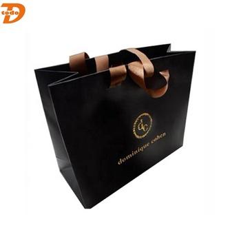 Hot Stamping Gold Foil Logo Matte Black Paper Bag Kraft With Print Product On Alibaba