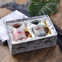 wholesale Gold Rim Couple Tea Coffee Milk gold handle marble Mug luxury birthday christmas valentine wedding gift item box set