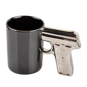 creative simple milk tea cup custom ceramic white black gun shaped handle coffee water mug