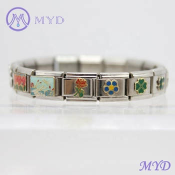 49f63705d Stainless steel classic size 9mm composable links red green enamel rose  flower Valintines Day Italian charms
