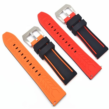 New 20mm 22mm 24mm Two colours silicone interchangeable watch strap with quick release watch band