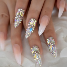 Luxury Fake Nails Designer Extra Long Ombre French Jewelry Pre-designed Nails Natural Stiletto AB Stones Decoration Tips