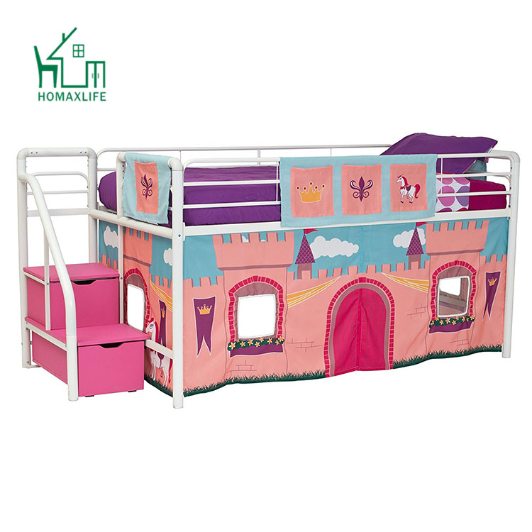 Free Sample Lower Curtains Childrens Loft Bunk Bed For Teenage Girl With Desk