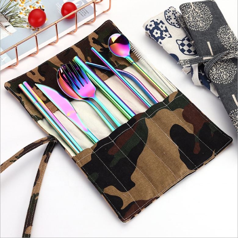 Alibaba.com / Western Cutlery Set 304 Stainless Steel Dinnerware Set Kitchen Knife Spoon Fork Chopsticks straws set  Portable Travel Tableware
